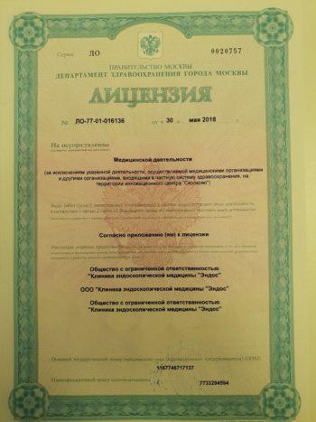 Медицинская лицензия Клиники эндоскопической медицины Эндос